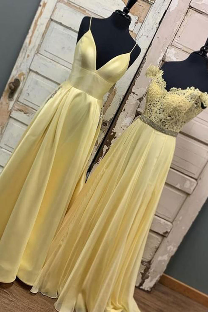 Yellow A-line long prom dress yellow lace evening dress
