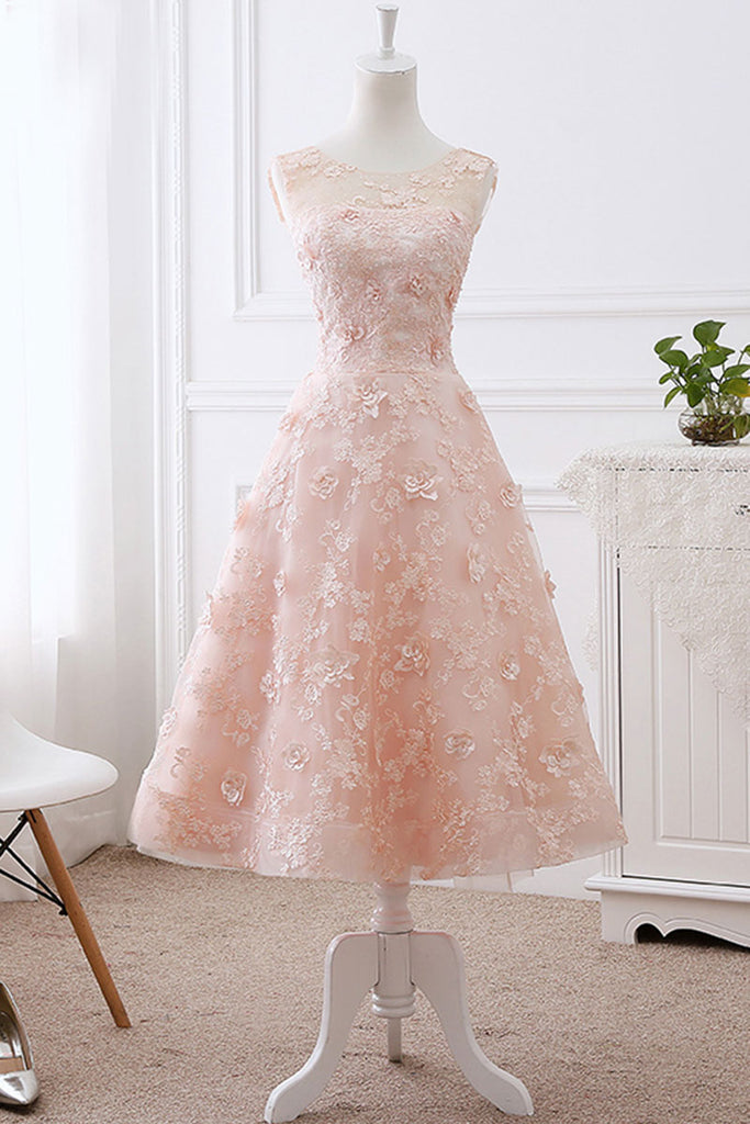 Pink lace round neck tea length prom dress, lace evening dress