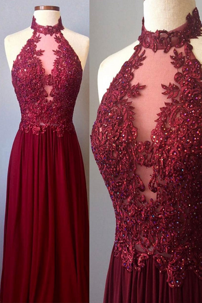 burgundy lace high neck long prom dress, burgundy evening dress