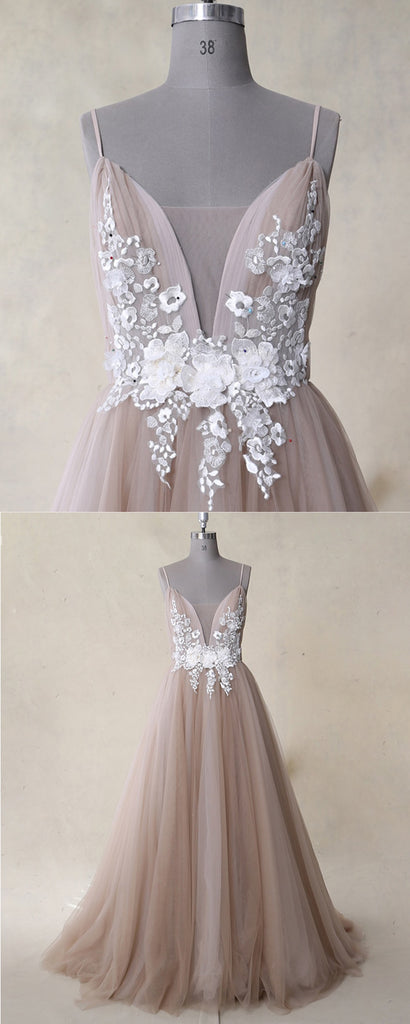 Champagne v neck tulle lace long prom dress tulle lace evening dress