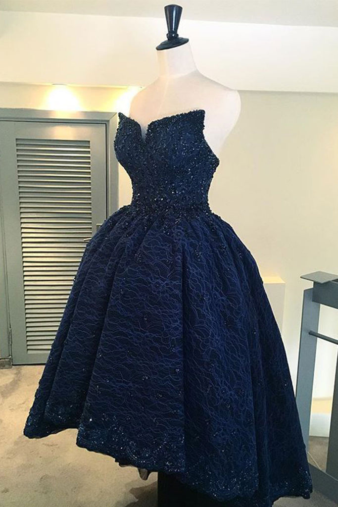 A line navy blue lace high low prom dress, homecoming dress