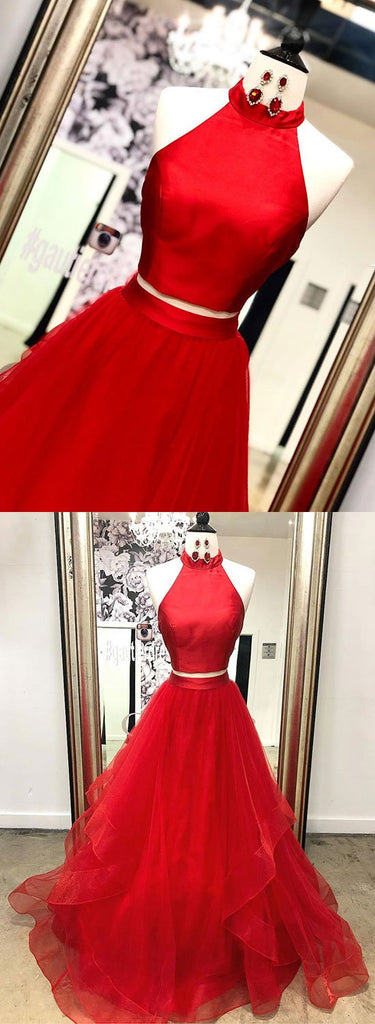 Red two pieces tulle long prom dress red long evening dress
