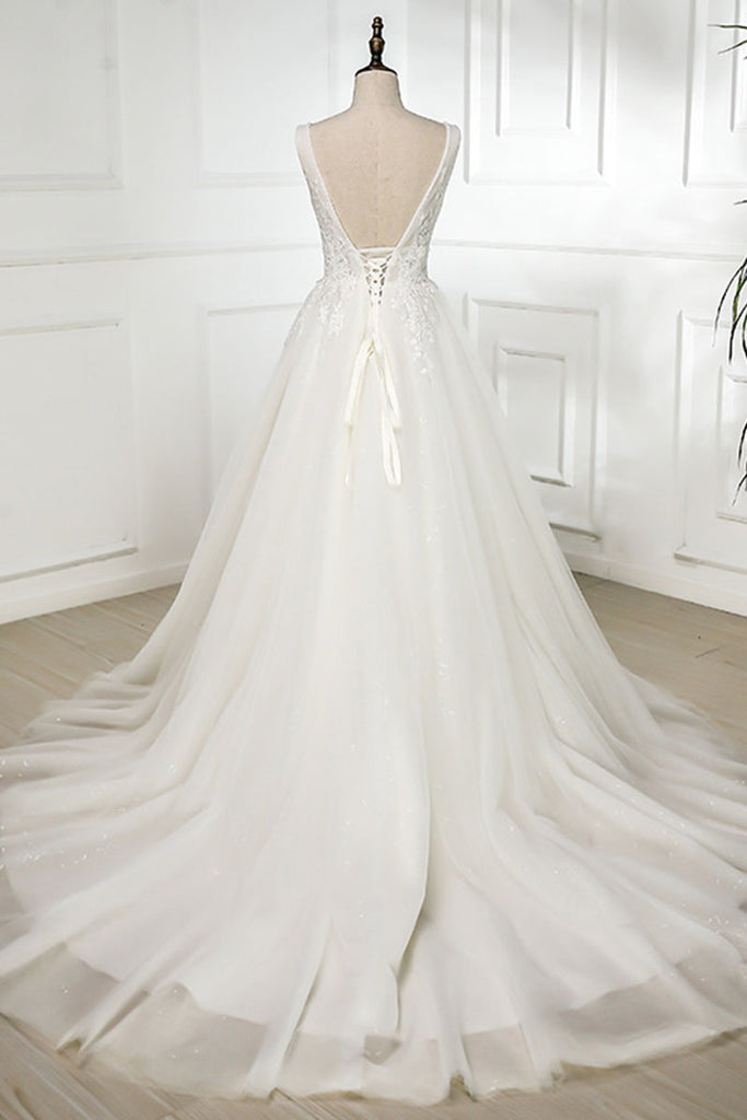 White v neck lace tulle long prom dress, wedding dress
