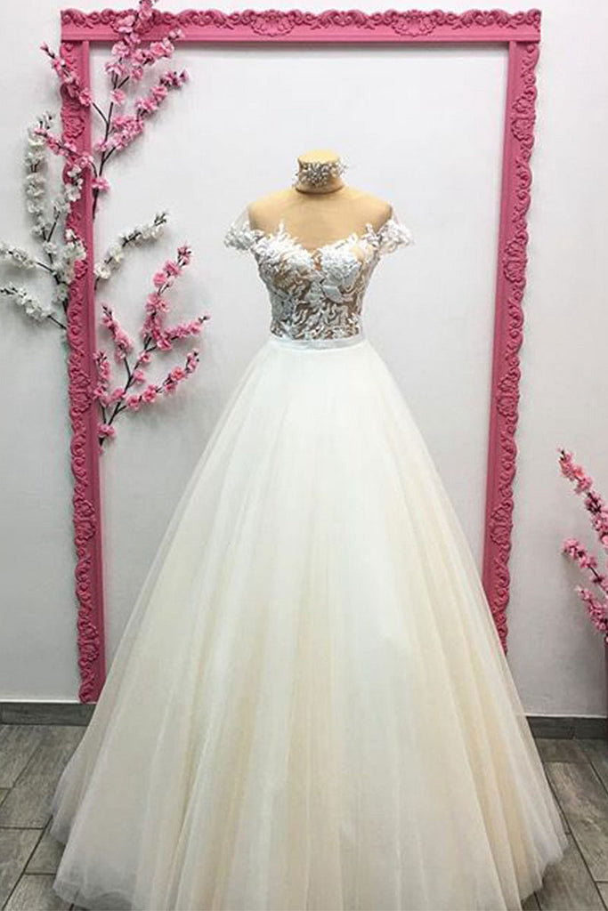 Unique tulle lace long prom dress, lace evening dress