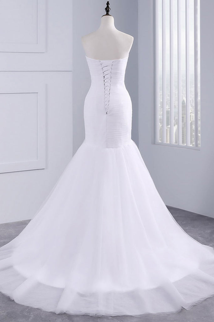 white mermaid sweetheart neck long prom dress, wedding dress