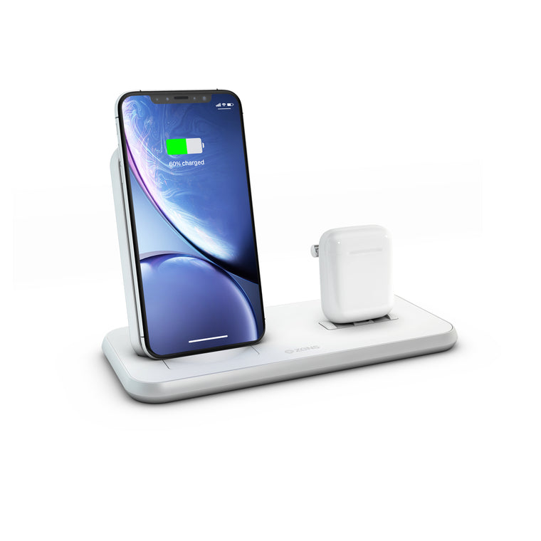 ZENS Stand+Dock Aluminium Wireless Charger - White