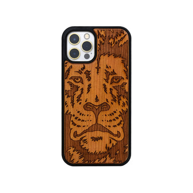Limited77 Wooden Engraved Lion iPhone Case