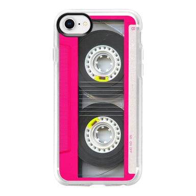 Casetify Retro Neon Pink Mixtape Cassette Classic Grip iPhone SE Case