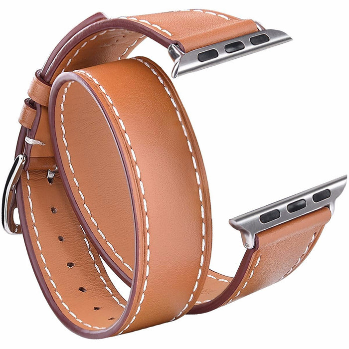 Speidel Brown Leather Double Tour Band For Apple Watch