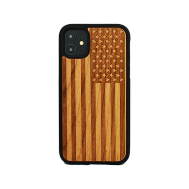 Limited77 Wooden Engraved American Flag iPhone Case