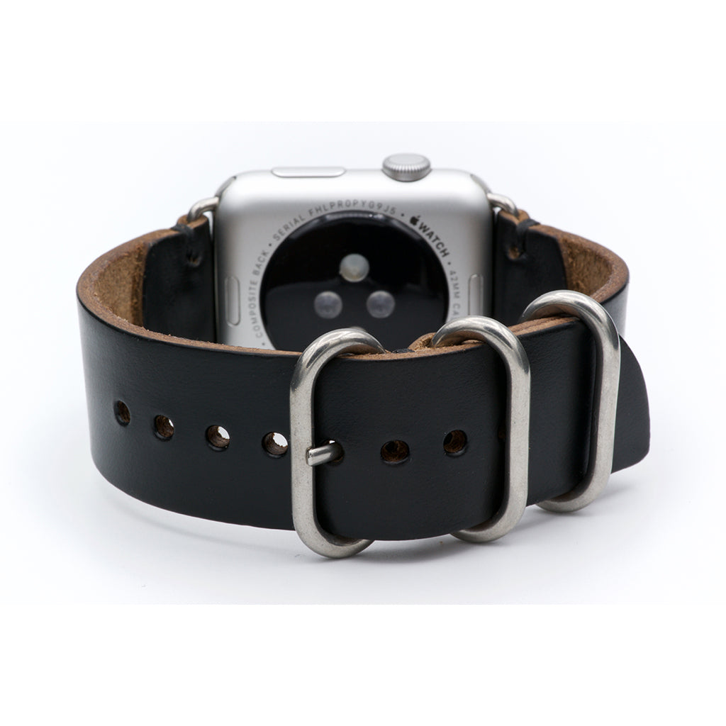 E3 Apple Watch Strap in Black Chromexcel Leather - Cult of Mac Watch Store