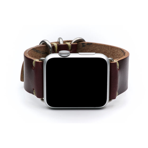 E3 Apple Watch Strap in Burgundy Shell Cordovan Leather - Cult of Mac Watch Store
