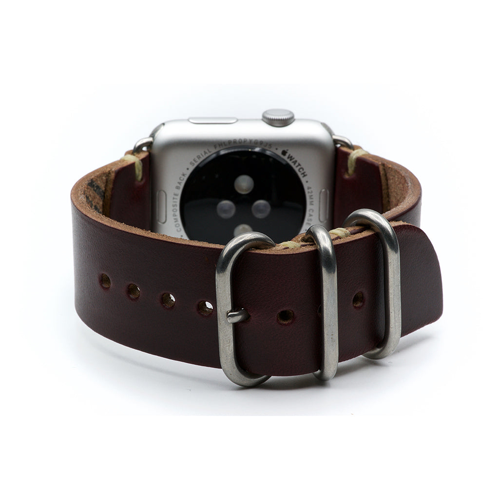 E3 Apple Watch Strap in Burgundy Chromexcel Leather - Cult of Mac Watch Store