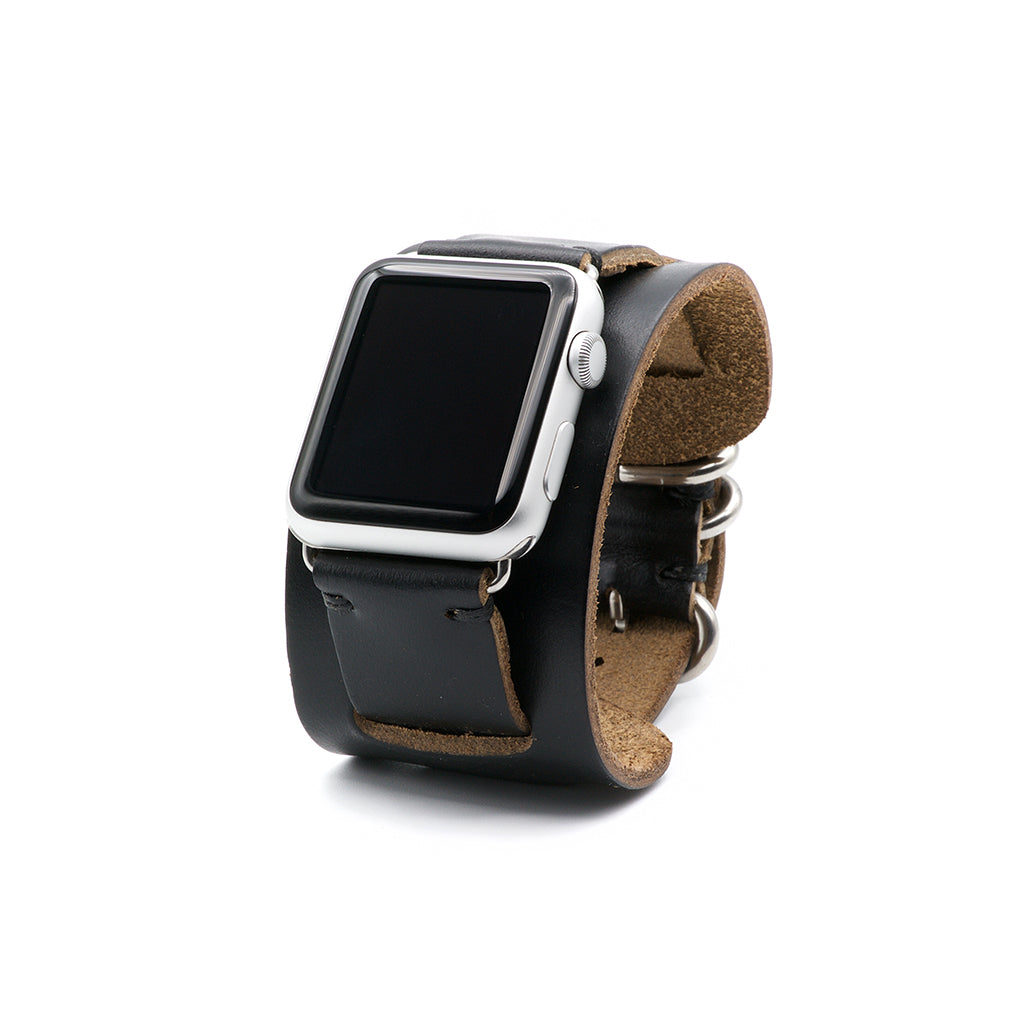 E3 Apple Watch Cuff in Black Chromexcel Leather - Cult of Mac Watch Store