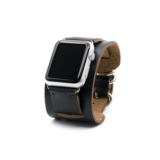 E3 Apple Watch Cuff in Black Chromexcel Leather