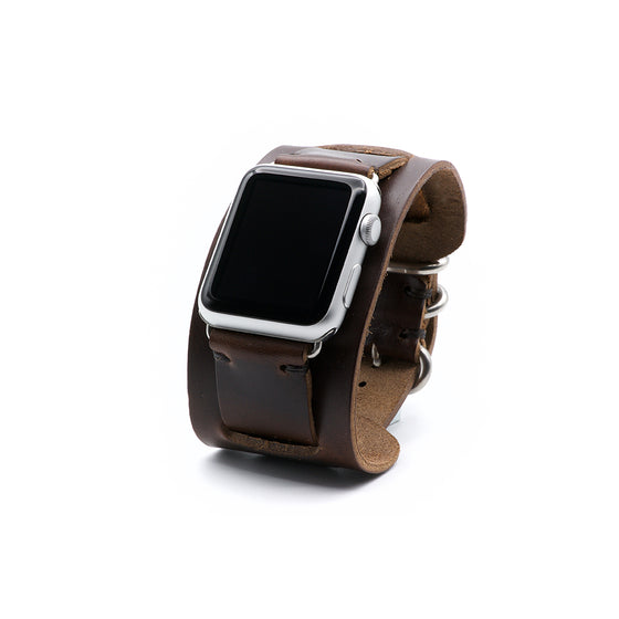 E3 Apple Watch Cuff in Brown Chromexcel Leather