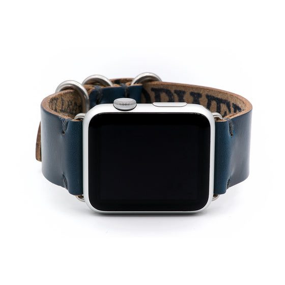E3 Apple Watch Strap in Navy Blue Chromexcel Leather - Cult of Mac Watch Store