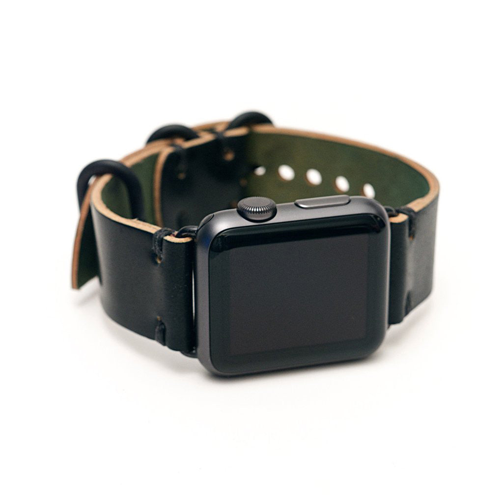 E3 Apple Watch Strap in Black Shell Cordovan Leather - Cult of Mac Watch Store
