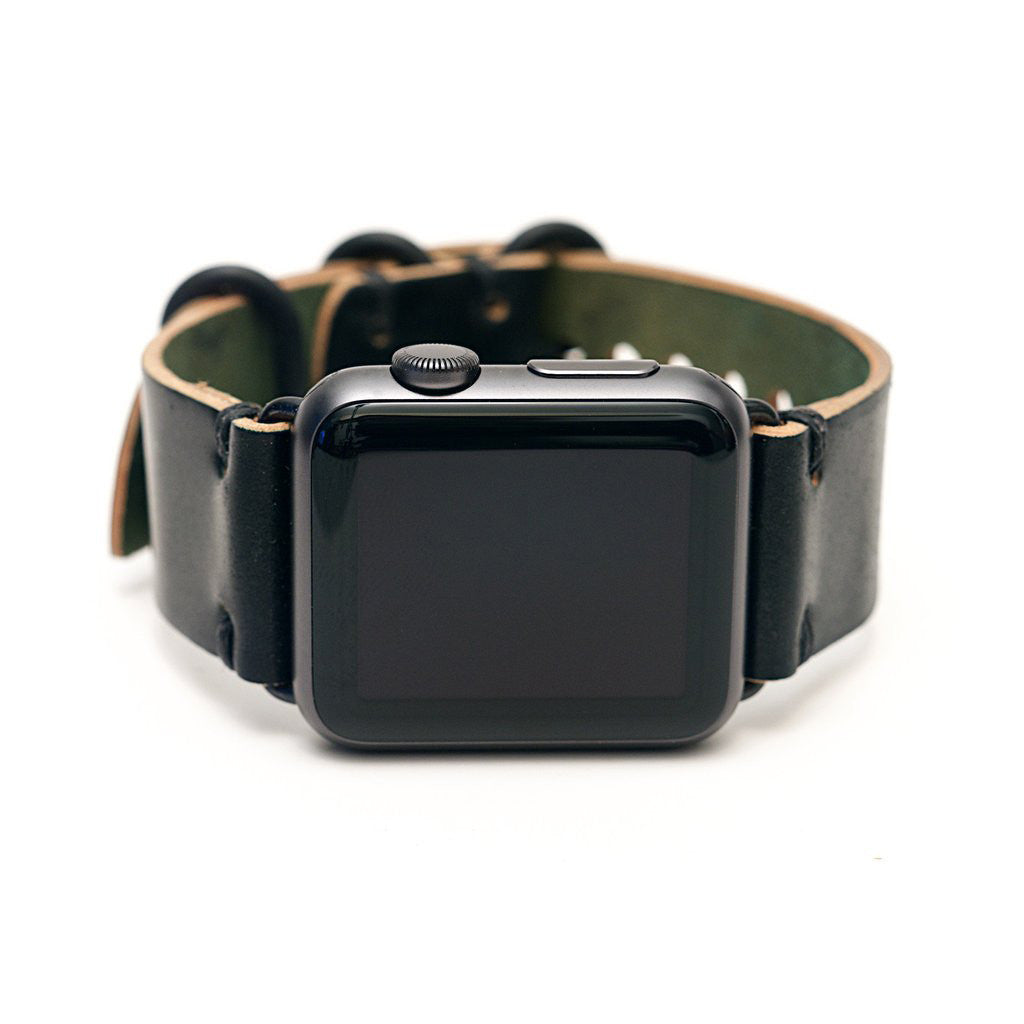E3 Apple Watch Strap in Black Shell Cordovan Leather