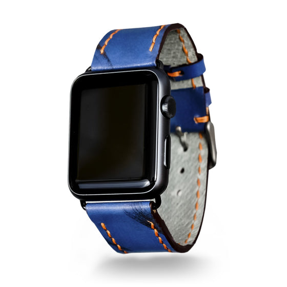 Strapley Distressed-Leather Apple Watch Band in Blue - Cult of Mac Watch Store