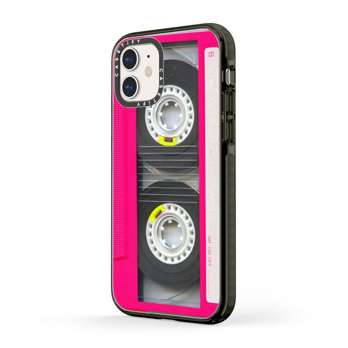 Casetify Retro Neon Pink Mixtape Cassette Impact iPhone Case