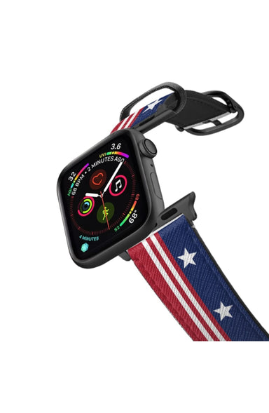 Casetify Saffiano Leather Apple Watch Band - Stars and Stripes Flag