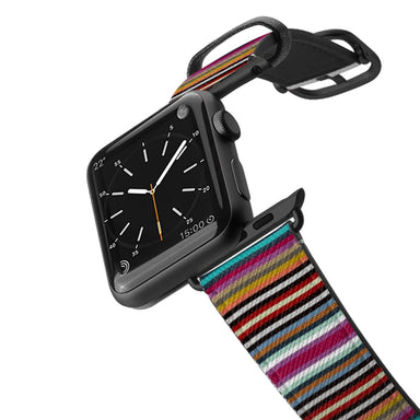 Casetify Saffiano Leather Apple Watch Band - Town Stripe