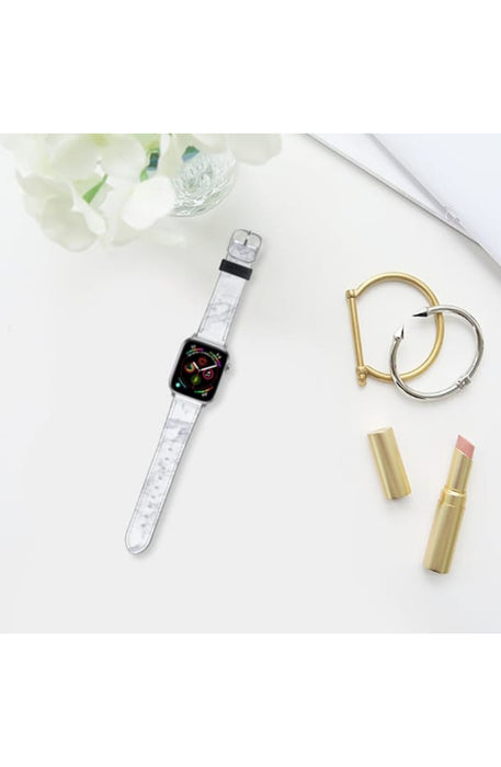 Casetify Saffiano Leather Apple Watch Band - White Marble addiction