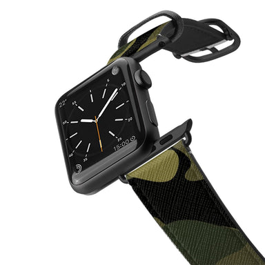 Casetify Saffiano Leather Apple Watch Band - Mystic Forest Camo