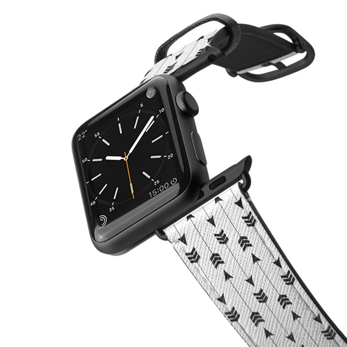 Casetify Saffiano Leather Apple Watch Band - Modern Simple Black White Bohemian Arrows