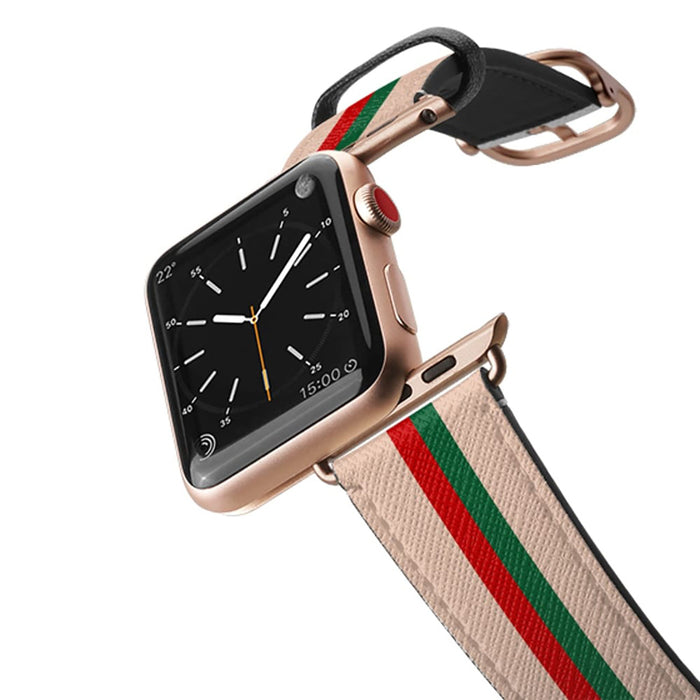 Casetify Saffiano Leather Apple Watch Band - Chic Stripe 2