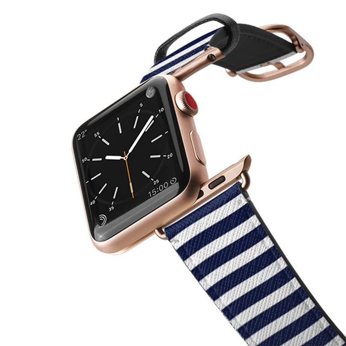 Casetify Saffiano Leather Apple Watch Band - Navy Stripes 3