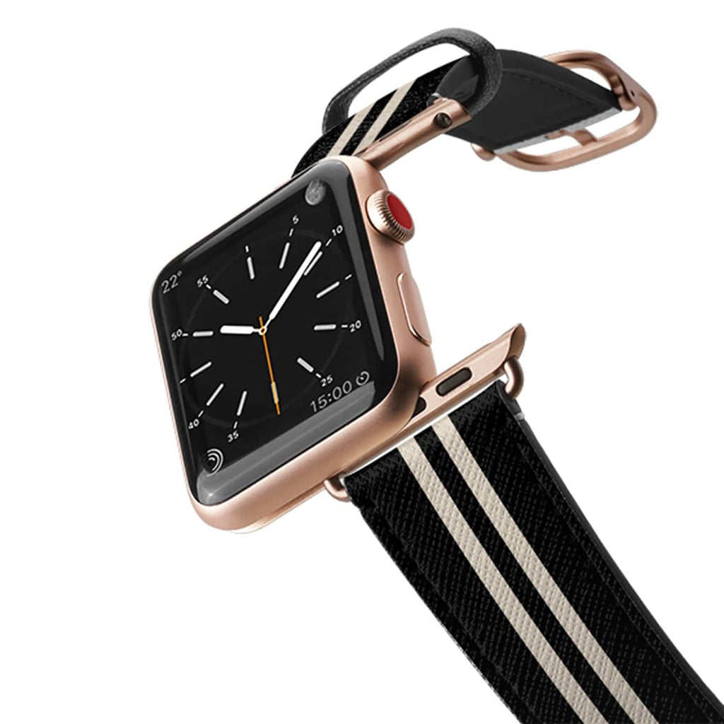 Casetify Saffiano Leather Apple Watch Band - Black Stripes 5