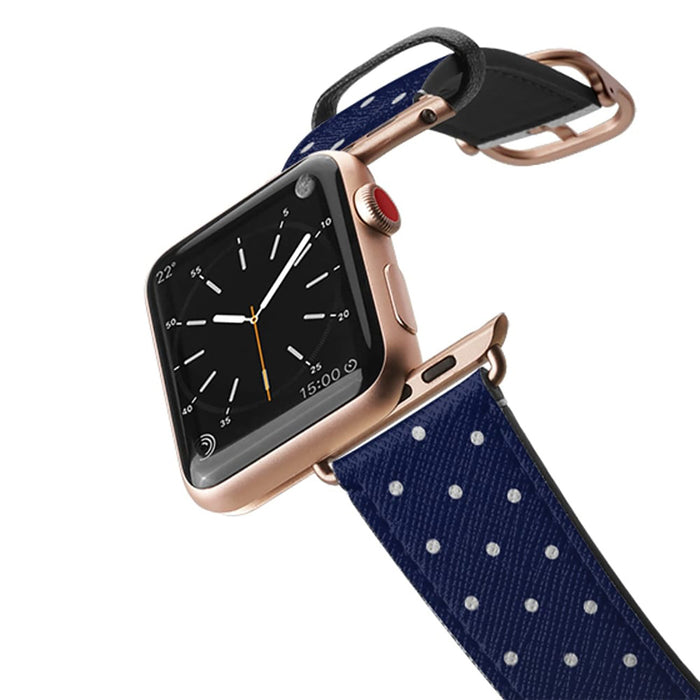 Casetify Saffiano Leather Apple Watch Band - Navy Polka Dots