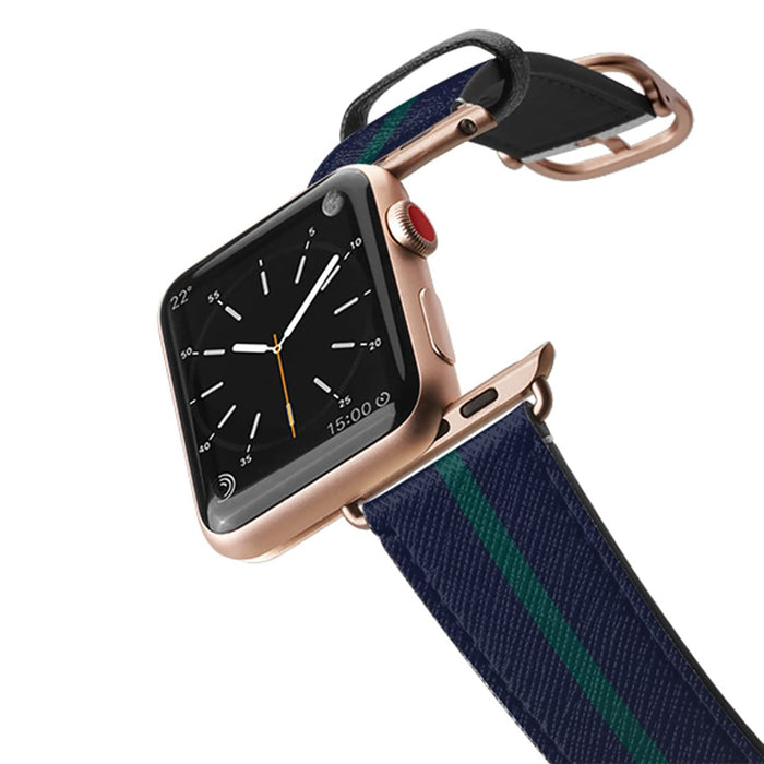 Casetify Saffiano Leather Apple Watch Band - Walk the Line - Hunter Green