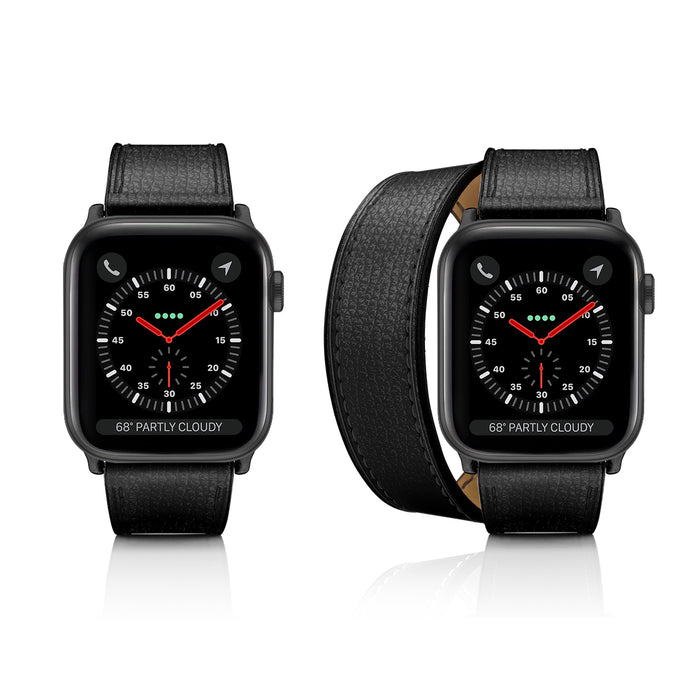 Casetify 2-in-1 Italian Leather Apple Watch Band - Black