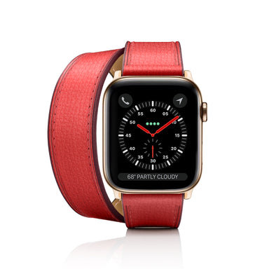Casetify 2-in-1 Italian Leather Apple Watch Band Kit - Red