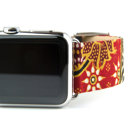 Clessant Batik Apple Watch Band in Red - Cult of Mac Watch Store