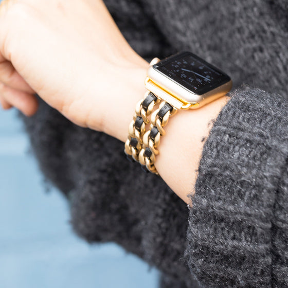 Bezels & Bytes Chainlink Leather Apple Watch Band