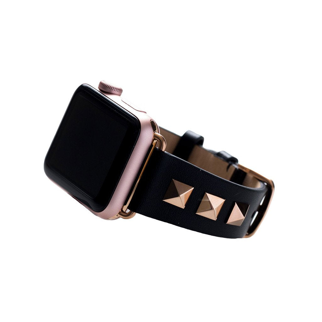 Bezels & Bytes Studded Leather Apple Watch Band