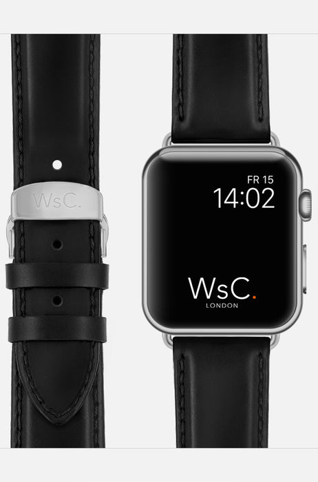 WsC Defiant Black Leather Apple Watch Band