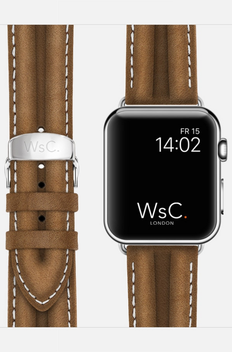 WsC Falcon Tan Leather Apple Watch Band With White Stitching