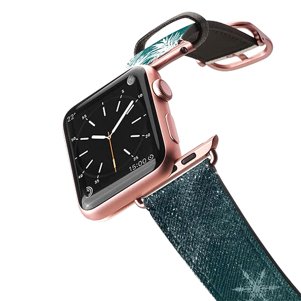 Casetify Dark Turquoise Pine Snowflakes Leather Apple Watch Band - Cult of Mac Watch Store