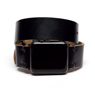 E3 Double Wrap Apple Watch Band in Black Chromexcel Leather - Cult of Mac Watch Store