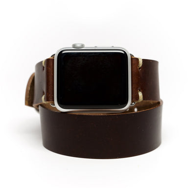 E3 Double Wrap Apple Watch Band in Brown Chromexcel Leather - Cult of Mac Watch Store