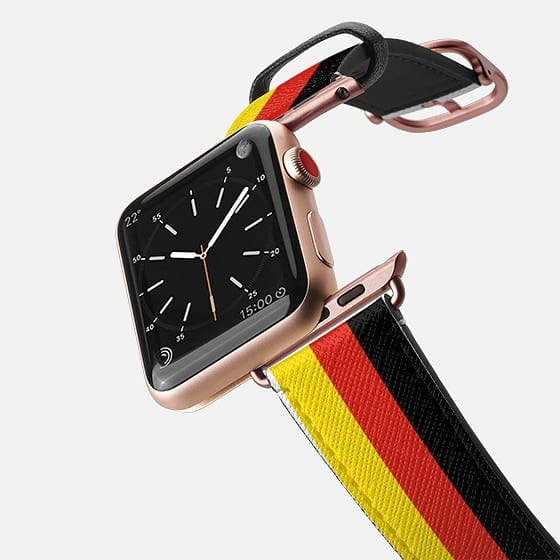 World Cup: Casetify Saffiano Leather Apple Watch Band Germany Stripes