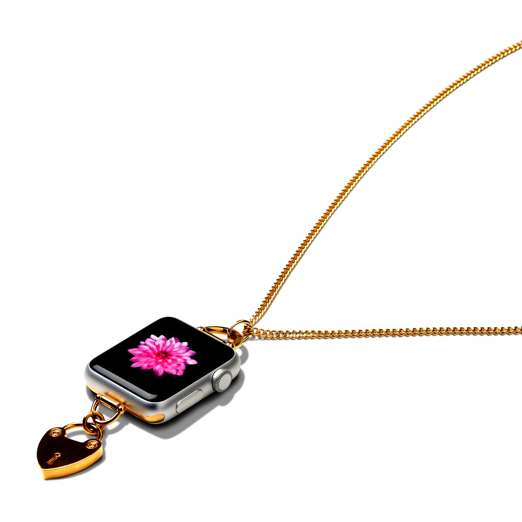 Bucardo Heartlock Charm Apple Watch Necklace in Gold Series 1, 2, 3