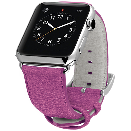Ullu Premium Leather Apple Watch Band in Indian Pink - Cult of Mac Watch Store