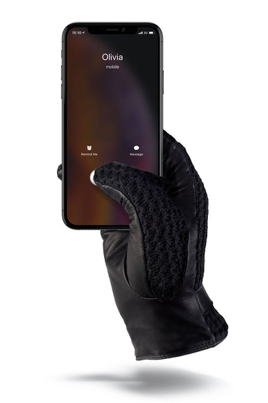Mujjo Leather Crochet Touchscreen Gloves-Black