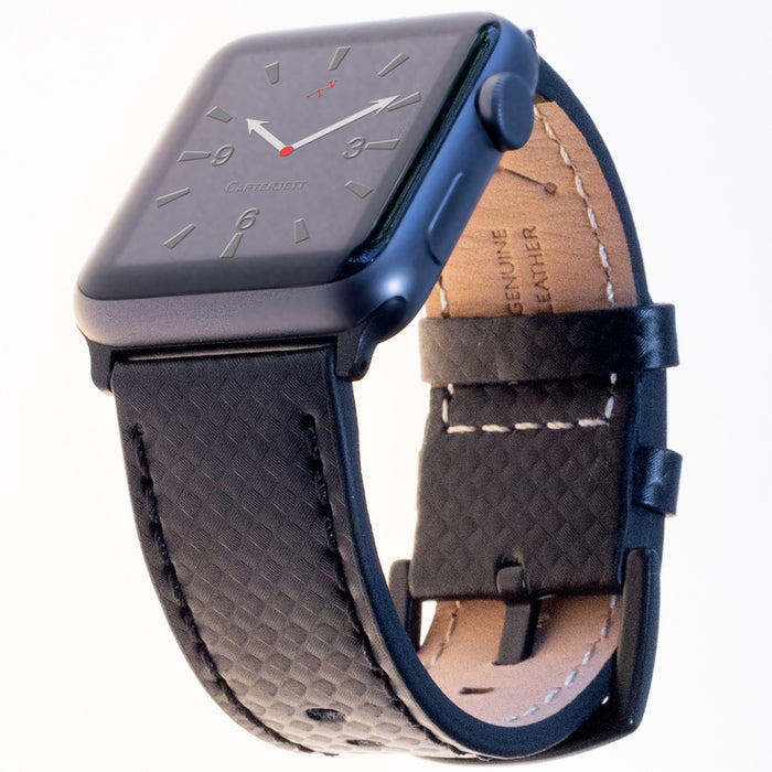 Carterjett Leather NATO Apple Watch Band in Carbon Fiber - Cult of Mac Watch Store